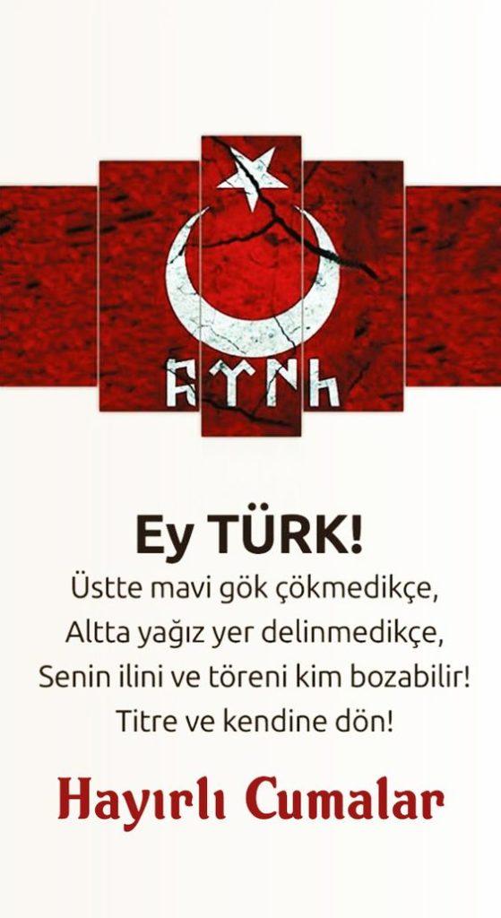 Göktürk-Yazılı-Türk-Bayraklı-Cuma-Mesajı-Bilge-Kağan